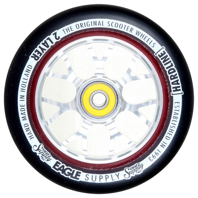 Eagle Sport Hardline 2-Layer X6 Panthers Scooter Wheel - Black/Silver 115mm