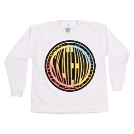 SkateHut Pastel Gradient Long Sleeve Kids T Shirt - White