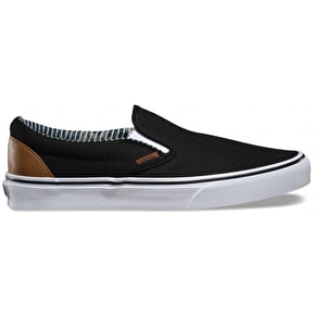 Vans Classic Slip-On Shoes - (C&L) Black/Stripe Denim