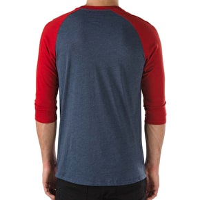 Vans OTW Raglan T-Shirt - Heather Navy/Red Dahlia