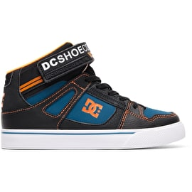 DC Pure HT EV High Top Skate Shoes - Black/Orange/Blue