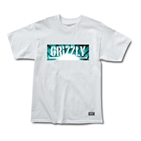 Grizzly Tie-Dye Box Logo T-Shirt - White
