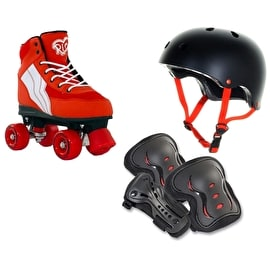 Rio Roller Pure Quad Roller Skates Bundle - Red/White