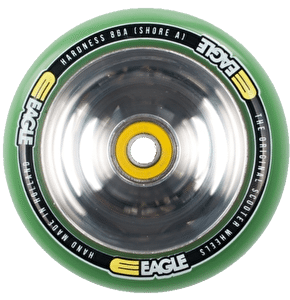 Eagle Polished Full Metal Core Green PU Wheel - 100mm