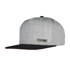Santa Cruz SCS Block Strip Badge Snapback Cap - Grey Melange/Black
