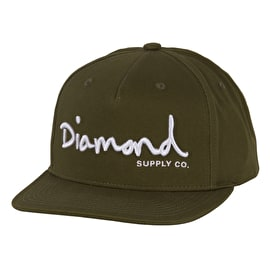 Diamond Supply Co OG Script Snapback Cap - Military Green