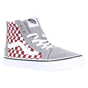 Vans Sk8-Hi Zip Kids Shoes - (Checkerboard) Frost Grey/Rhubard