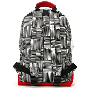 Mi-Pac Mini Scribble Check Backpack - Monochrome/Red