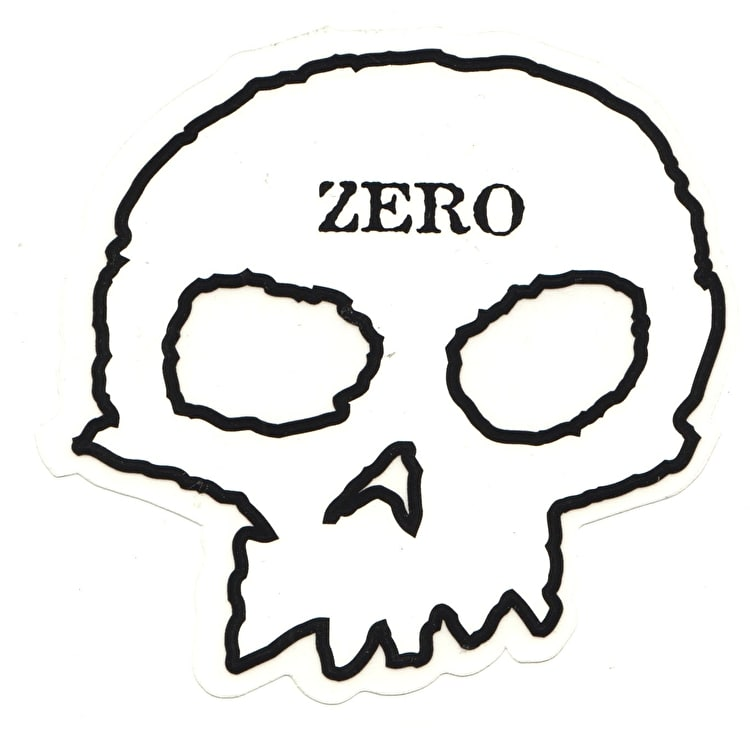 Zero Skull Skateboard Sticker - Clear/Black/White 5""