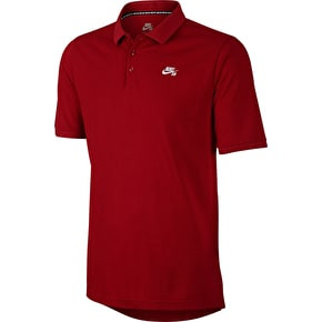 Nike SB Dri-Fit Pique SS Polo T-Shirt - Gym Red/White