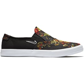 Nike SB Portmore II Solarsoft Slip-On Skate Shoes - Black/White/Multi