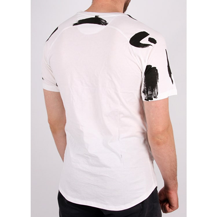 Hype Brush Stroke T Shirt - White/Black