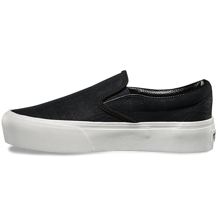Vans Classic Slip-On Platform Skate Shoes - (Embossed) Black/Blanc De Blanc