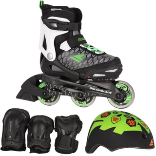 Rollerblade 2018 Spitfire Cube Adjustable Inlline Skates Bundle - Black/Green