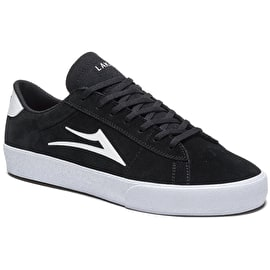 Lakai Newport Skate Shoes - Black/White Suede