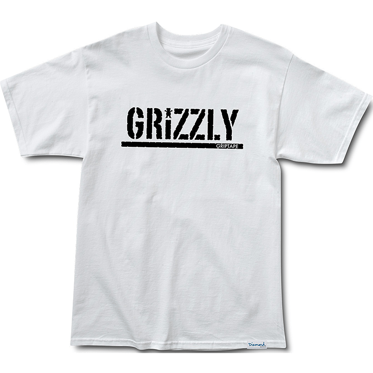 Grizzly Stamp Print T-Shirt - White