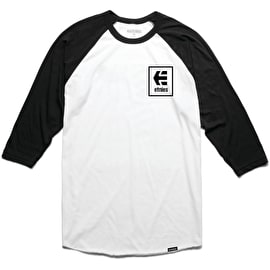 Etnies Stack Box Raglan T-Shirt - Black/White