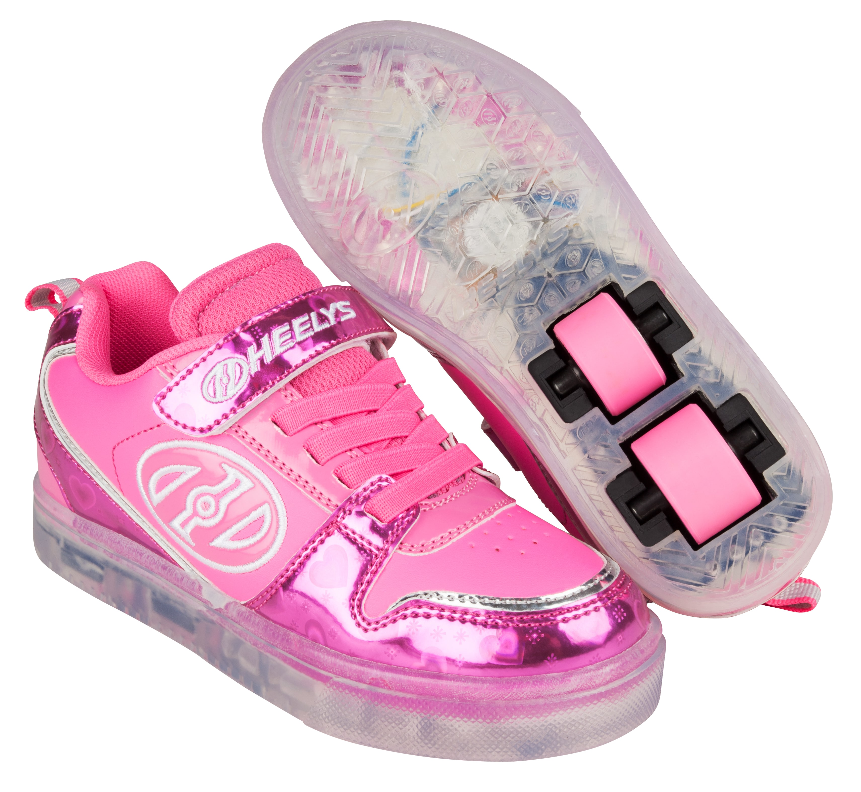 Details about Heelys X2 Boom - Fuchsia Pink Silver Hearts 17229bfad15