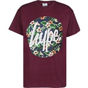 Hype Flower Circle T-Shirt - Burgundy