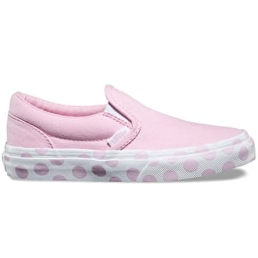 Vans Classic Slip-On Kids Skate Shoes - (Polka Dot) Pink Lady/True White