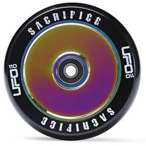 Sacrifice UFO 110mm Scooter Wheel w/Bearings - Black/Neochrome