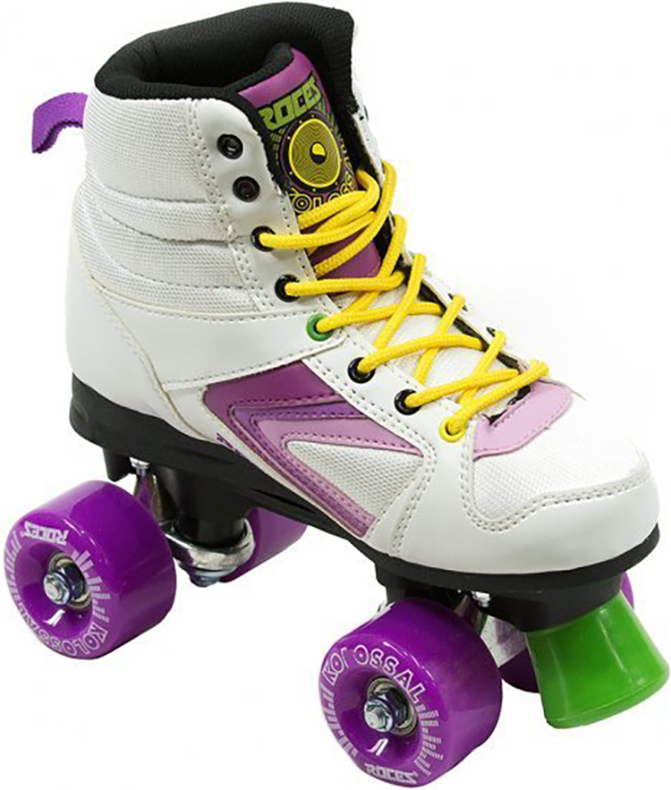 Roces Kolossal Quad Skates - White/Purple/Yellow