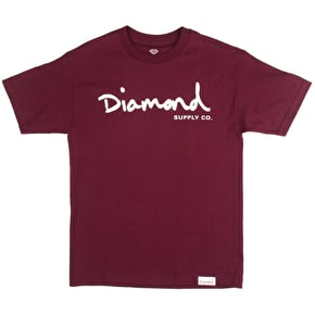 Diamond OG Script T-Shirt - Burgundy