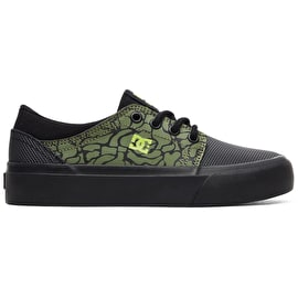DC Trase Skate Shoes - Black/Black/Soft Lime