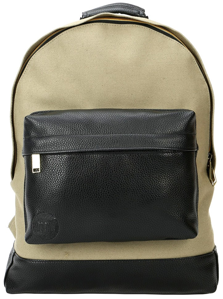 MiPac Canvas Tumbled Backpack  KhakiBlack