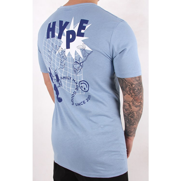 Hype Cat Grid T Shirt - Blue/White