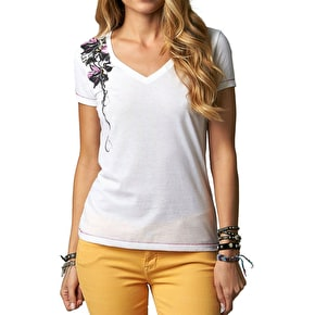 Fox Girls Mind Games V Neck T-Shirt - White