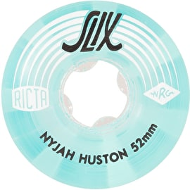 Ricta Nyjah Huston Crystal Slix 99a Skateboard Wheels - Clear/Blue 52mm