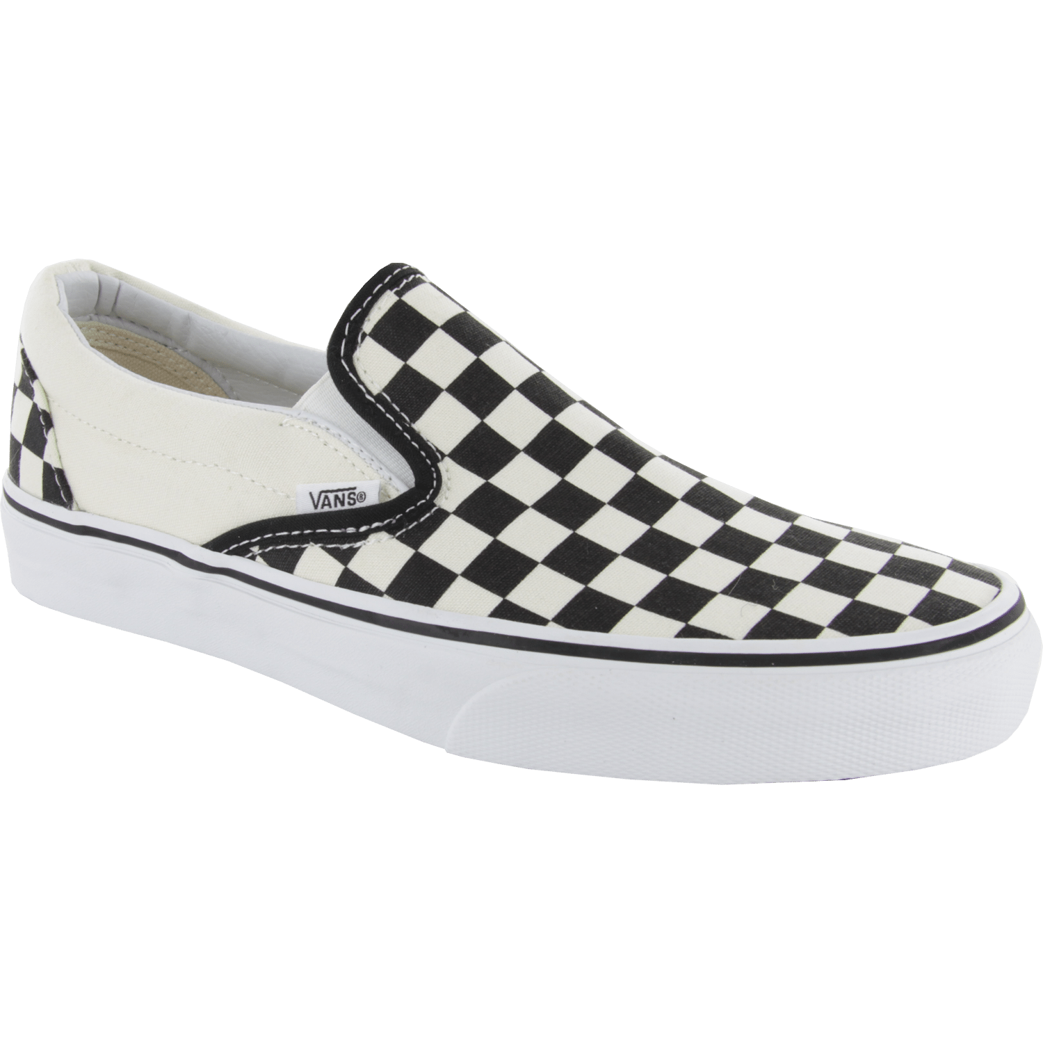 black and white checked vans