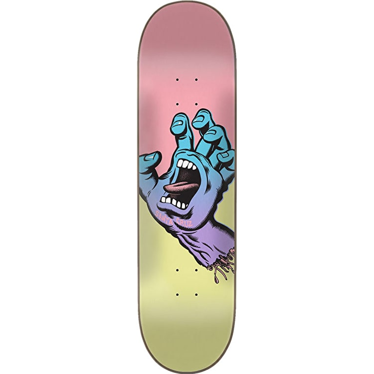 Santa Cruz Pastel Screaming Hand Skateboard Deck - Yellow/Pink 8.25""