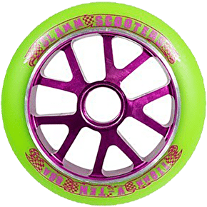 Slamm Aluminium Purple Core Green PU Wheel - 110mm