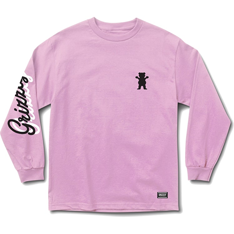 Grizzly Cursive Long Sleeve T Shirt - Pink