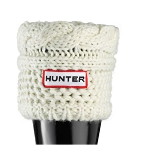 Hunter Kids Moss Cable Cuff Wellington Boots Socks - Cream