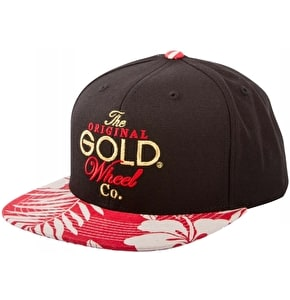 Gold Original Stack Snapback Cap - Black/Red Floral