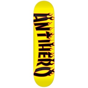 Anti Hero Flaming Skate Co Skateboard Deck - Yellow 8.06