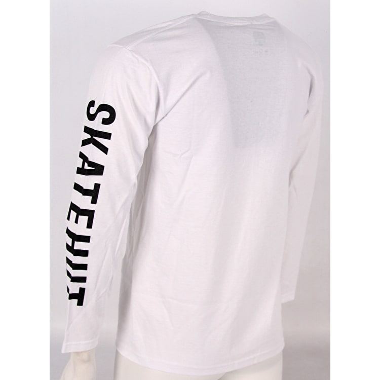 SkateHut Sleeve Script Long Sleeve T Shirt - White/Black