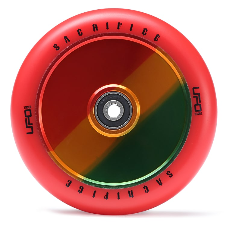 Sacrifice UFO 120mm Scooter Wheel w/Bearings - Red/Jamaica