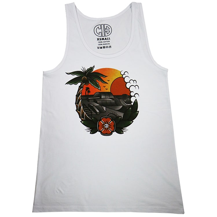 Chicks In Bowls Paradise Slim Tank Top - White