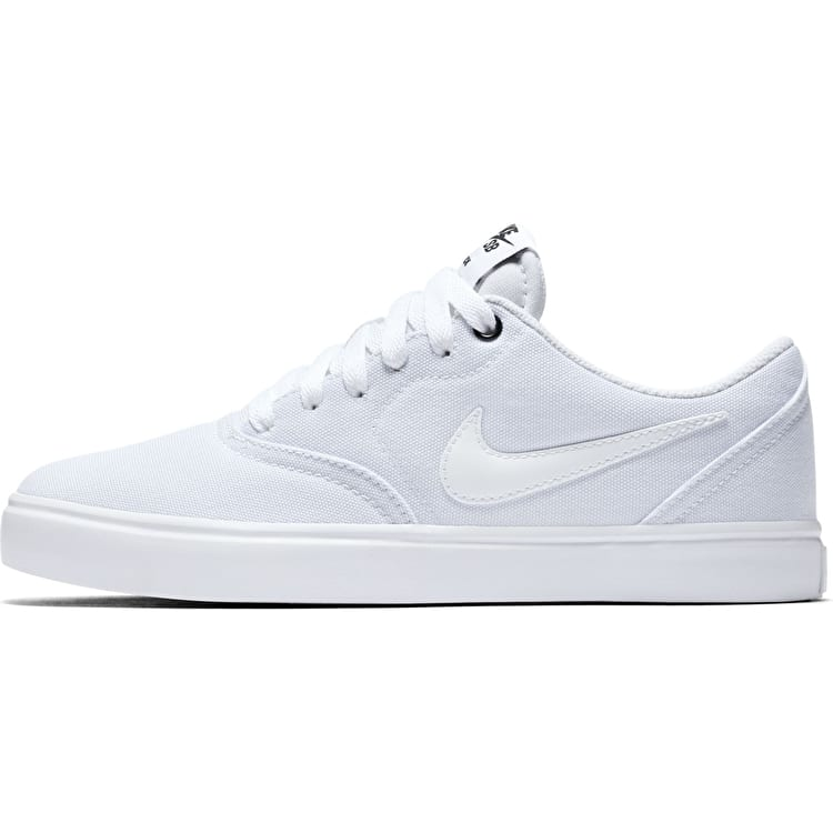 Nike SB Check Solarsoft Canvas Womens Skate Shoes - White/White-Black