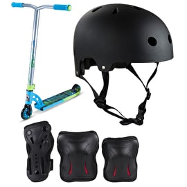 MGP VX7 Pro Sky Blue/Lime Stunt Scooter Bundle