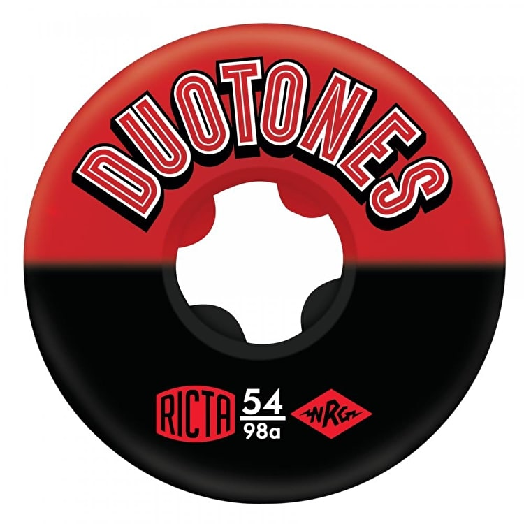 Ricta Duo Tones 98a Skateboard Wheels - Red/Black 54mm (Pack of 4)