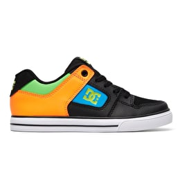 DC Pure Elastic SE Boys Skate Shoes - Black/Multi