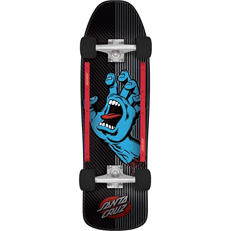 Santa Cruz Screaming Hand Metal Stripe Street Complete Cruiser - Black/Blue 31.7""