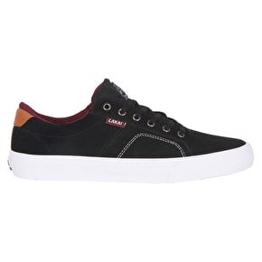 Lakai Flaco Skate Shoes - Black/White Suede