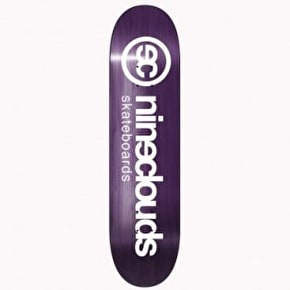 Nineclouds Logo Skateboard Deck - White/Purple 8.25