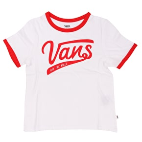 Vans Batter Up 3 Womens T-Shirt - White/Racing Red